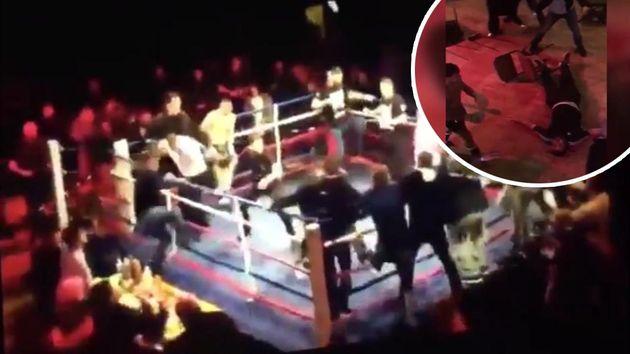 Брутално меле между бойци и фенове по време на галавечер (ВИДЕО)