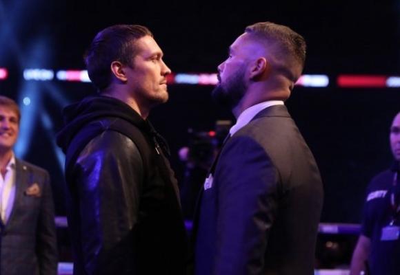 Усик и Белю застанаха очи в очи, британецът обеща да смачка съперника си