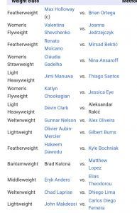 Fight card UFC 231
