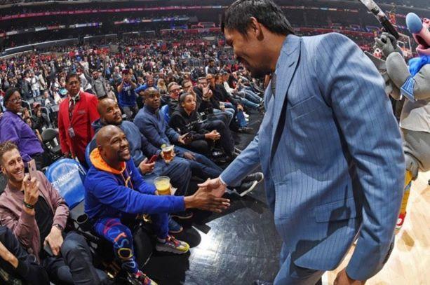 Пакиао и Мейуедър разпускат с мач от НБА (ВИДЕО)