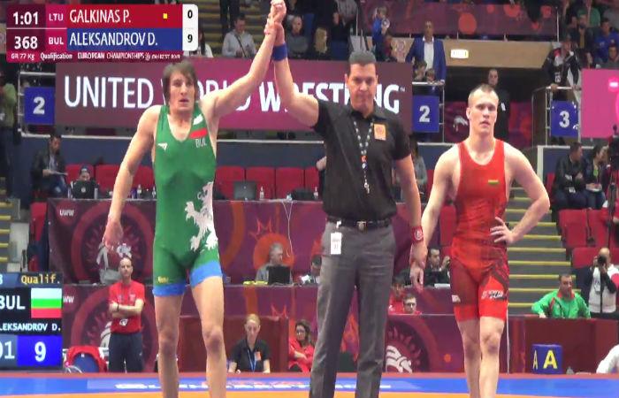 Дани Александров с убедителна победа на старта на Европейското по борба