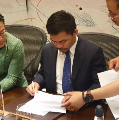 Мани Пакиао подписа с японска верига